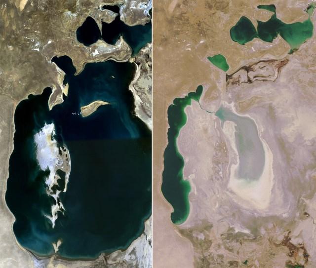Mar Aral em 1989 e 2008
