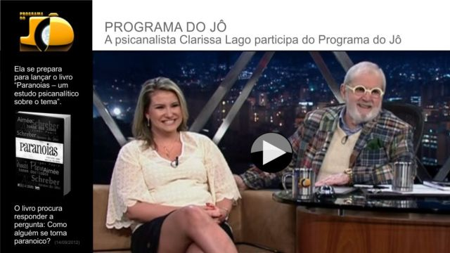clarissa lago no programa do jo