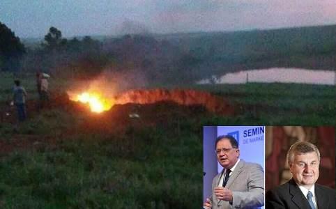Local da queda do avião e os dois executivos mortos