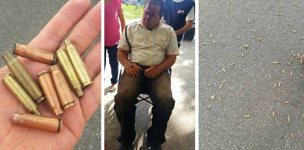 Capsulas de balas e o vigilante ferido