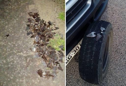 Grampos nas rodovias e carros com pneus furados (Fotos: WhatsApp)