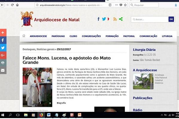 Resultado de imagem para Site da Arquidiocese repercute morte de Monsenhor Lucena