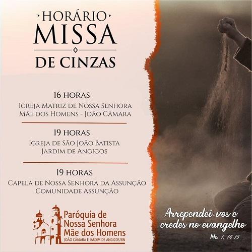 Resultado de imagem para João Câmara: Paróquia divulga horário de missa na quarta-feira de cinzas