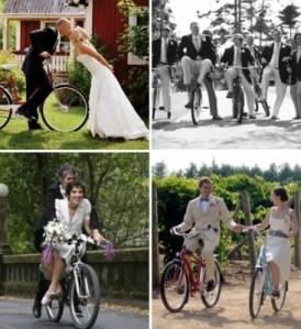 Varios ejemplos de novios en bicicleta