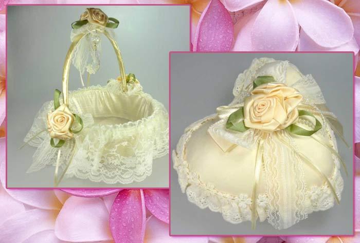 Cojines y cestas para bodas