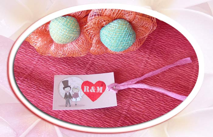 Tarjeta personalizada con sello de bodas