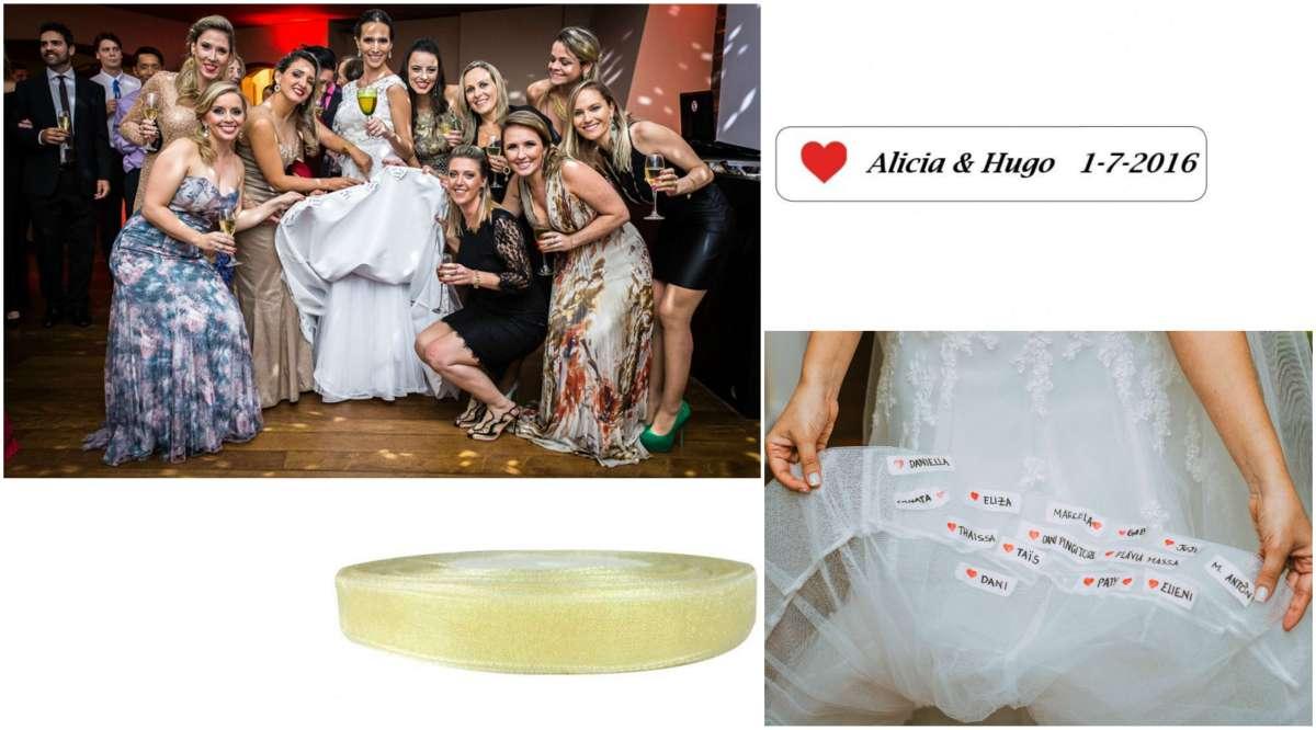 Es un bonito detalle con las amigas. Y durante la boda, se dará un momento muy divertido cuando quieran ver sus nombres escritos bajo el vestido.