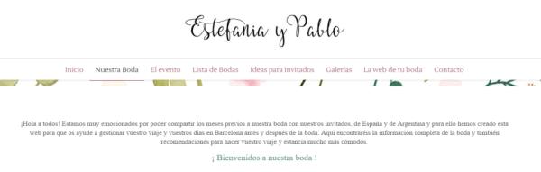 Nos encanta la web que Estefanía, de Miss Cavallier, realizó para su propia boda.