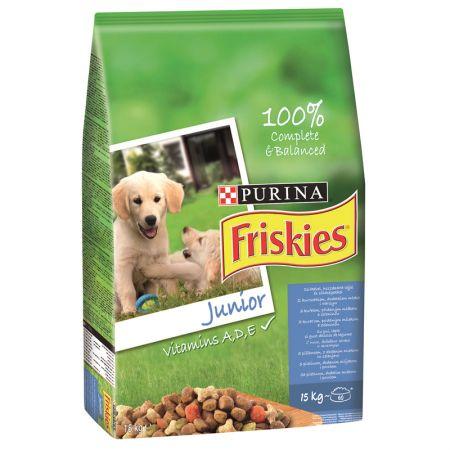 Hrana uscata pentru caini, Friskies Junior, Pui & Legume, 15Kg
