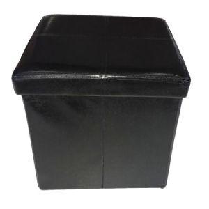 Taburet Homa cu spatiu de depozitare, 38x38x38 cm, piele ecologica, negru