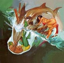 luchador enmascarado y tiburon