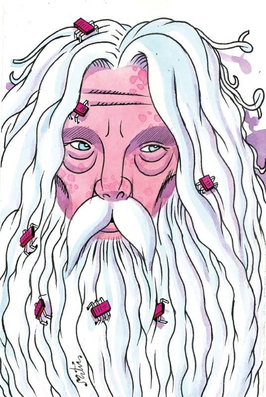 Retrato de Alan Moore por Miguel Ángel Martín