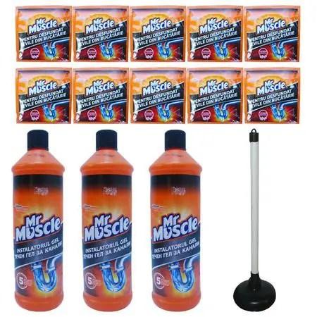 Mister Muscolo WC - pachet 3 X Mr Muscle desfundat tevi