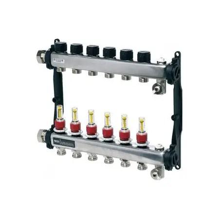 Distribuitor Tecefloor slq Rectangular otel inox, complet echipat 5 cai