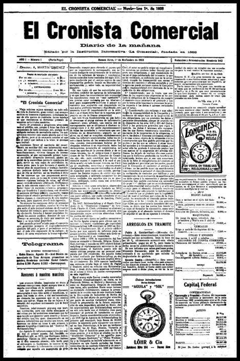 La primera portada de El Cronista, de Buenos Aires, Argentina. 1º de noviembre de 1908.