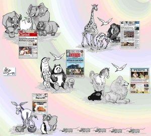 """""""Si supieran leer, qué diarios eligirían los animales"""", una imagen de www.retratosyretretes.blogspot.com"""