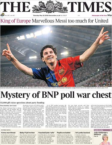 La portada de The Times, una rivalidad entre Manchester y Londres, pero una portada argentina al fin.