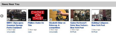 Un print-screen del nuevo apartado de YoutTube para noticias locales