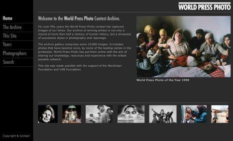 La home de los archivos del World Press Photo, un enorme trabajo de la entidad que puede verse online