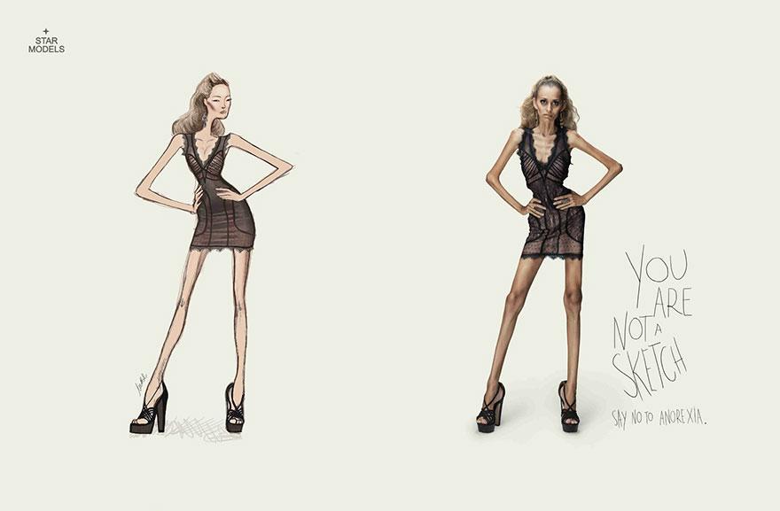 Usted no es un boceto. Diga NO a la anorexia