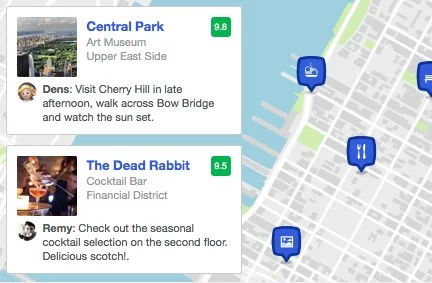 Mapa de Foursquare Trip Tips