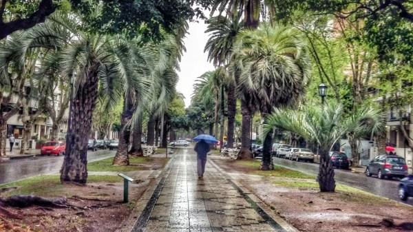 Rosario bajo la lluvia