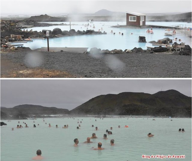 Los Baños Nnaturales de Myvatn y Laguna Azul en Islandia son balnearios al aire libre sobre roca volcánica