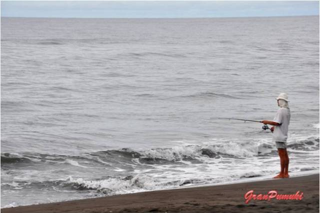Perscador en la playa de Tortuguero. En el mar se podía ver asomar la cabeza de las tortugas cuando salían a respirar. En blog de viajes, Tortuguero, Costa Rica con niños