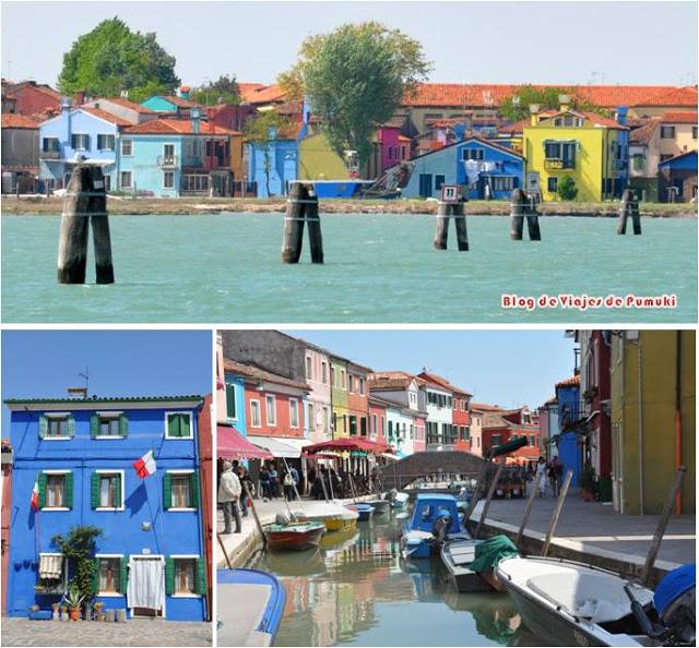 La Isla de Burano en Venecia es caractrística por sus casas de colores