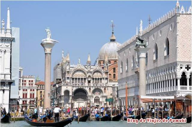 Impresionante vista de la plaza de San Marcos, el Palacio ducal y la Basílica de San Marcos vistos desde el Gran Canal