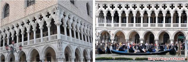 Decoración y detalles de la fachada del Palacio ducal en Venecia