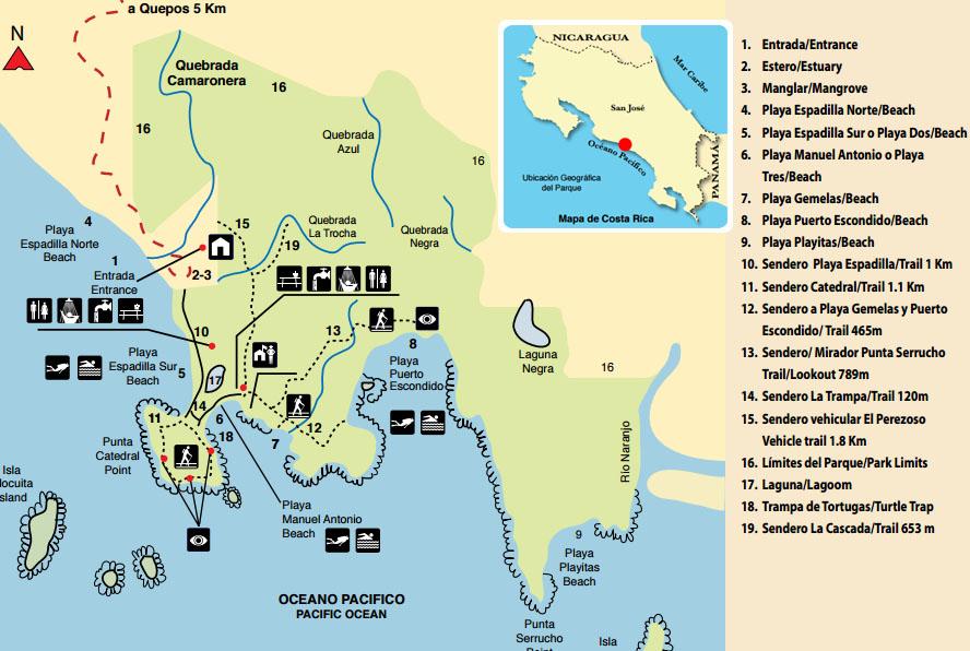 Mapa senderos Parque Nacional Manuel Antonio