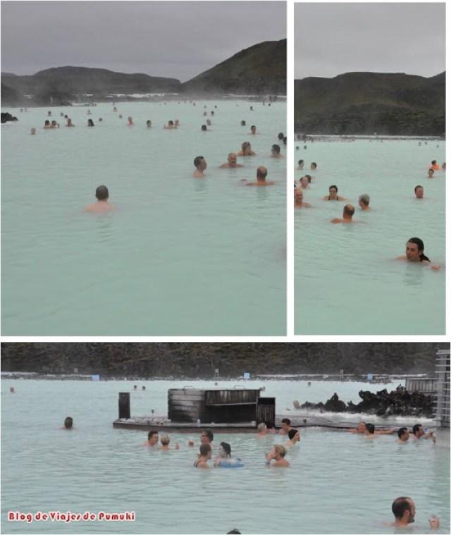 En el agua de Laguna Azul o blue lagoon en Islandia