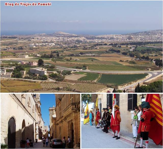 Calles de Mdina y panorámica desde el Mirador de Mdina en Malta