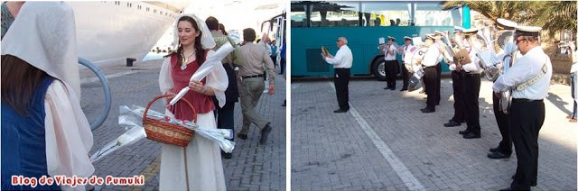 Malta recibe a los cruceristas con banda de música y una flor en el puerto de la Valeta