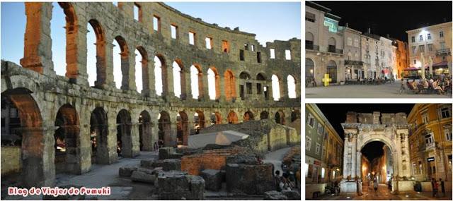 Pula y el Anfiteatro o Arena en un viaje a Istria, Croacia con la familia