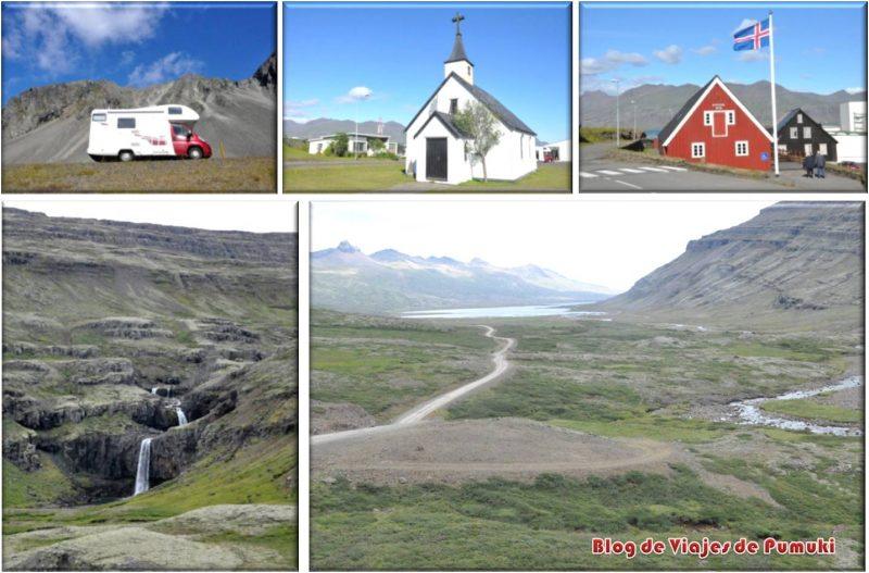 Casas y paisajes de Djúpivogur, Islandia