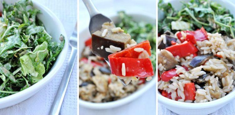 Kremowe ryżotto z bakłażanem