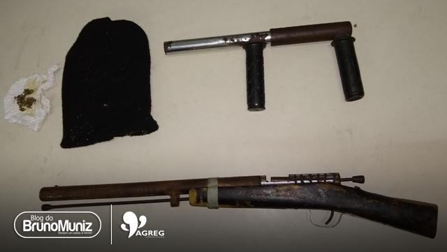 Guardas municipais apreendem armas de fogo de fabricação caseira e entorpecente no Agreste de Pernambuco