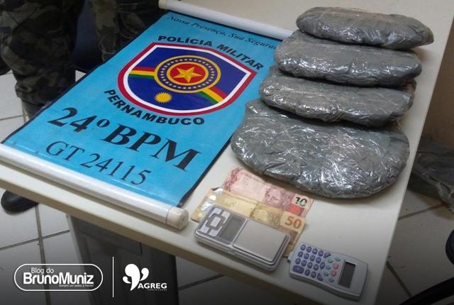 Menor é detido com 1,4 kg de entorpecente, balança de precisão e dinheiro em Santa Cruz do Capibaribe