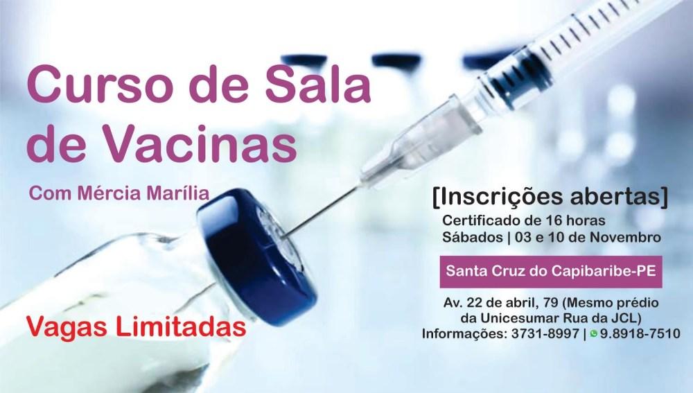 Inscrições abertas para curso de Sala de Vacinas