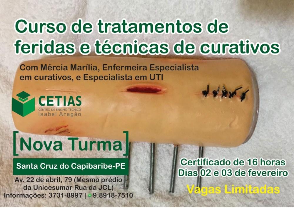 Inscrições abertas para curso de tratamentos de feridas e técnicas de curativos