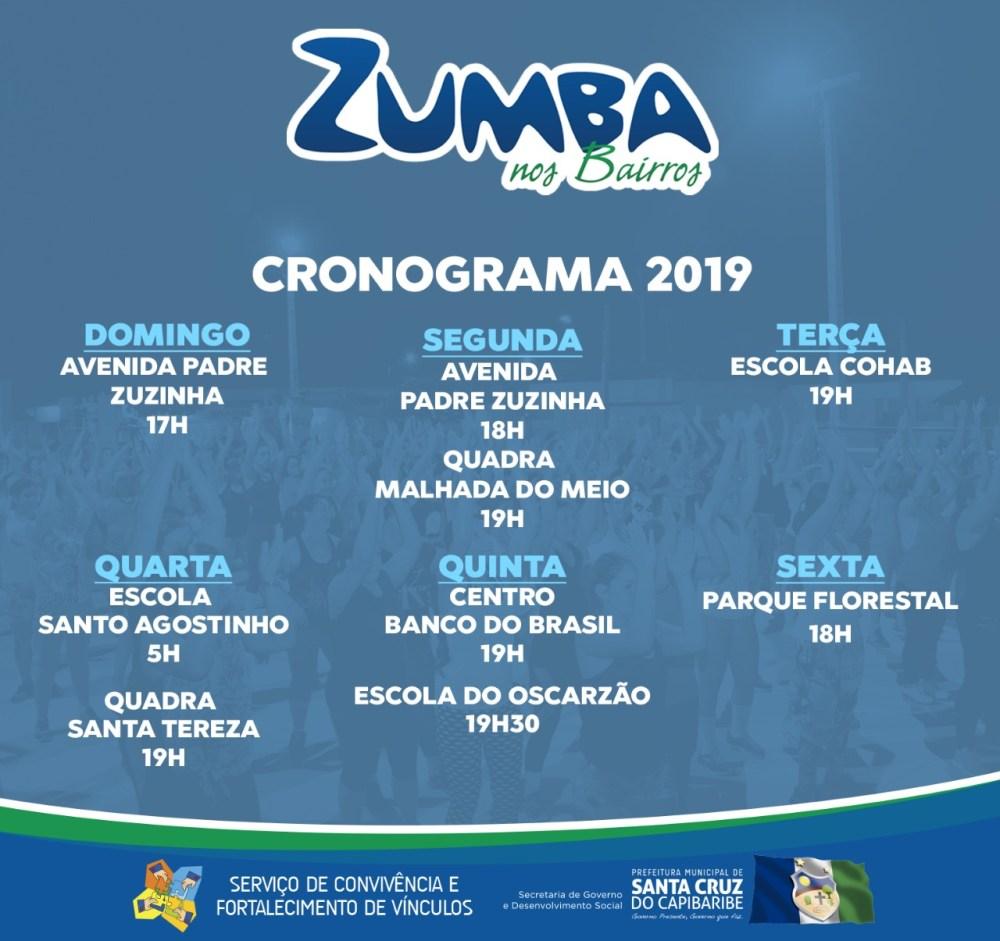 Zumba nos Bairros tem novo calendário para 2019