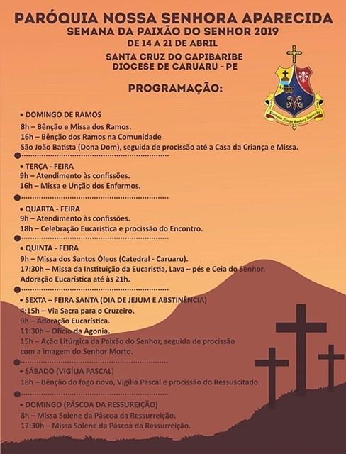 Paróquia de Nossa Senhora Aparecida de Santa Cruz do Capibaribe, divulga programação para a Semana Santa