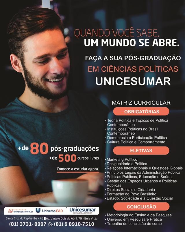 Unicesumar oferece curso de pós-graduação em Ciência Política