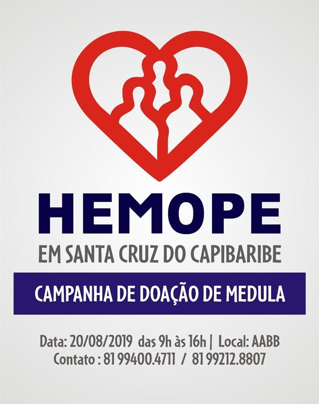 Santa Cruz do Capibaribe recebe ação de captação de doadores de medula óssea na próxima terça