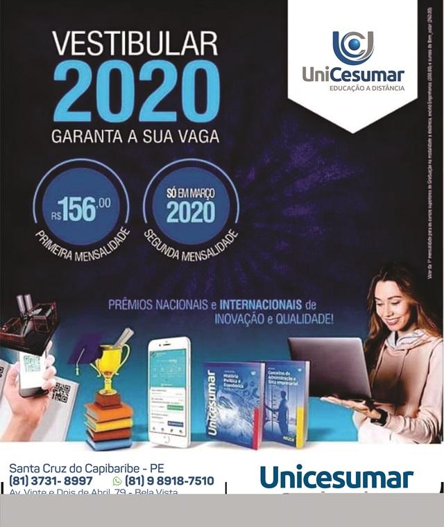 Faculdade Unicesumar vai realizar vestibular no próximo sábado (07)