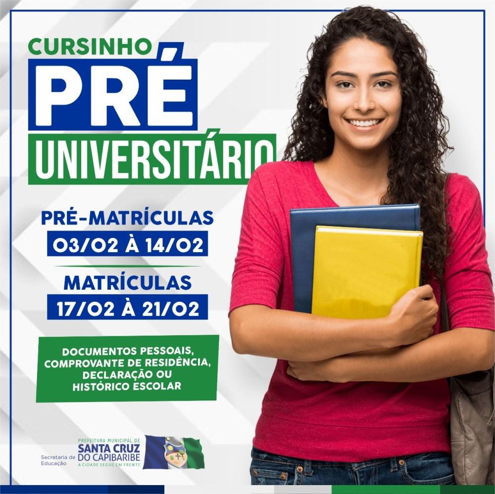 Matrículas para cursinho Pré-universitário 2020 de Santa Cruz do Capibaribe iniciam em fevereiro