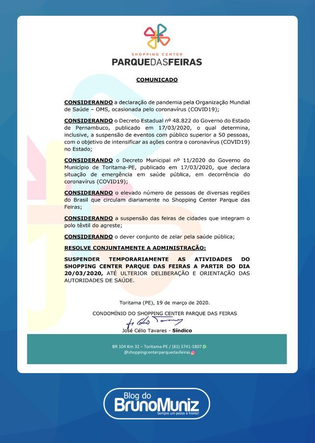 Parque das Feiras de Toritama não abrirá nos próximos dias
