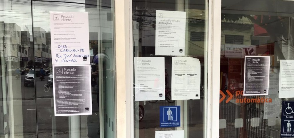 Agência do Itaú em Santa Cruz do Capibaribe é fechada por tempo indeterminado